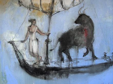 Femme et taureau blesse sur barque-81x100